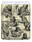 Baby Monkeys Playing Black And White Antique Illustration Duvet Cover