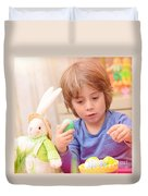 Cute Boy Enjoy Easter Holiday Duvet Cover