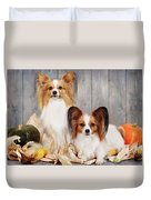 cute couple dogs breed papillon by Iuliia Malivanchuk  Duvet Cover