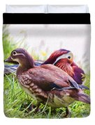 Cute Couple - Mandarin Ducks Duvet Cover