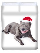 Cute Dog In Santa Hat Duvet Cover