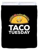 Cute Funny Taco Tuesday Smiling Taco Duvet Cover