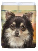 Cute Furry Brown And White Chihuahua On Orange Background Duvet Cover