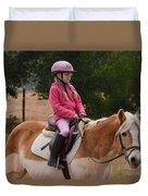 Cute Girl On Horse 2 Duvet Cover