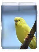 Cute Little Yellow Parakeet In The Rainforest Duvet Cover