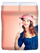 Cute Pinup Cook Thinking Up Colander Cooking Idea Duvet Cover