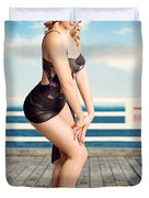 Cute Pinup Girl Looking Surprised On Beach Pier Duvet Cover