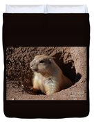 Cute Prairie Dog Climbing Out Of A Hole Duvet Cover
