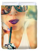 Cute Retro Girl Drinking Milkshake Duvet Cover