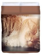 Cute Small Cat Sleeping Duvet Cover