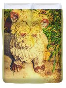 Cute Weathered White Garden Ornament Of A Dog Duvet Cover