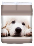 Cute White Puppy Dog Lying And Looking Up. Polish Tatra Sheepdog Duvet Cover