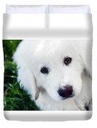Cute White Puppy Dog Portrait. Polish Tatra Sheepdog Duvet Cover
