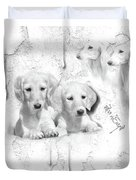 Cute White Salukis With Puppies Duvet Cover