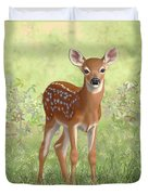 Cute Whitetail Deer Fawn Duvet Cover by Crista Forest