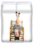 Cute Young Woman Sitting Upside Down On Chair Duvet Cover