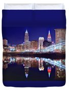 Cuyahoga Reflecting The City Above Duvet Cover