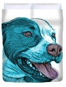 Cyan Bull Fractal Pop Art - 7773 - F - Wb Duvet Cover