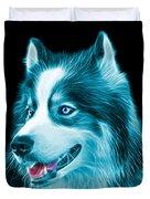 Cyan Modern Siberian Husky Dog Art - 6024 - Bb Duvet Cover
