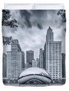 Cyanotype Anish Kapoor Cloud Gate The Bean At Millenium Park - Chicago Illinois Duvet Cover
