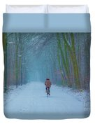 Cycling In The Snow Duvet Cover
