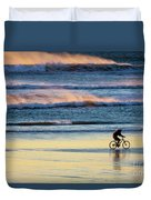 Cyclist Pedals Against The Wind At Pismo Beach Duvet Cover
