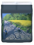 Cyclists And Yellow Field Duvet Cover
