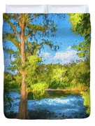 Cypress Tree By The River Duvet Cover