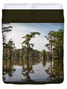 Cypress Trees And Spanish Moss In Lake Martin Duvet Cover