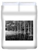 Cypresses In Tallahassee Black And White Duvet Cover