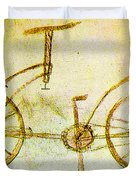 Da Vinci Inventions First Bicycle Sketch By Da Vinci Duvet Cover