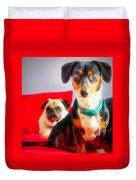 Dachshund Dog, Pug Dog, Good Time On Bed Duvet Cover