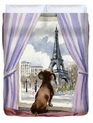 Dachshund In Paris Duvet Cover
