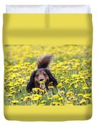 Dachshund On A Meadow In Bloom Duvet Cover