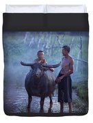 Dad And Child Happy To Live In The Countryside,thailand, Vietnam Duvet Cover