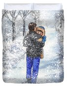 Dad And Child In The Winter Snow Duvet Cover