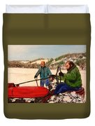Dad And Denny In A Winter Field Duvet Cover