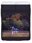 Dad And Sons Fishing Duvet Cover