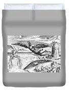 Daedalus Escaping From Crete With His Son, Icarus, Sees Him Falling To His Death Duvet Cover
