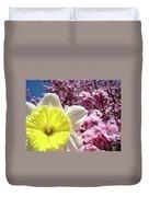 Daffodil Flower Art Prints Pink Tree Blossoms Blue Sky Baslee Duvet Cover
