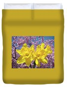 Daffodil Flowers Spring Pink Tree Blossoms Art Prints Baslee Troutman Duvet Cover