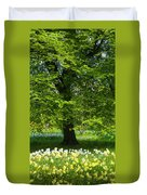 Daffodils And Narcissus Under Tree Duvet Cover