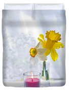 Daffodils And The Candle Duvet Cover