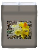 Daffodils Flower Artwork 29 Daffodil Flowers Agate Rock Garden Floral Art Prints Duvet Cover