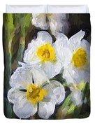 Daffodils In My Garden Duvet Cover