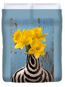 Daffodils In Wide Striped Vase Duvet Cover