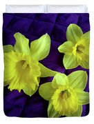 Daffodils On A Purple Quilt Duvet Cover