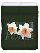 Daffodils Orange And White Duvet Cover