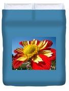 Dahlia Flower Art Prints Canvas Red Yellow Dahlias Baslee Troutman Duvet Cover
