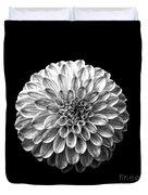 Dahlia  Flower Black And White Square Duvet Cover